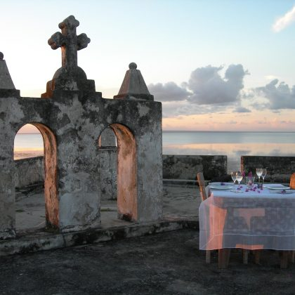 Main fort dinner overlooking ocean Ibo Island Lodge