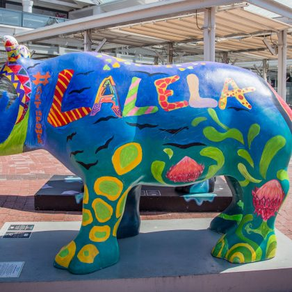 Timeless Africa Safaris Lalela Rhino on display at the V&A Waterfront