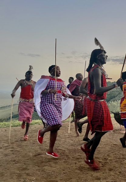 Winnie - Leah and Sophie's favourite person - joining the Maasai warrior dance.